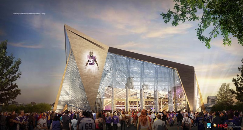 Minnesota Multi-Purpose Stadium; The future home of the NFL's Minnesota Vikings  and multi-purpose venue emcompasses 1.6 million square feet,  66,000-seats, including 7,500 club seats, and 125 suites. Thornton Tomasetti's structural engineering, building skin mechanization design and construction support teams collaborated with HKS to design an innovative building that features one of the largest clear ETFE (ethylene tetrafluoroethylene) polymer membrane roofs and the largest pivoting glass doors in the world. - HKS
