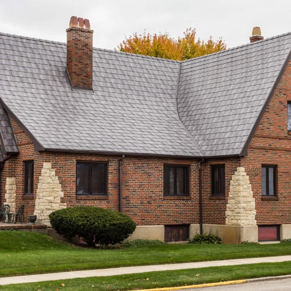 Centura Steel Shingle's unique paint system, colors (pictured here in Slate Rock Gray), and design will preserve, protect and, add to the beauty of any home. These durable, steel shingles weigh far less than the lightest asphalt shingles, yet add the strength of steel for a lifetime of beauty and protection. Providing lifelong beauty and protection, this will be the last roof your home ever needs.