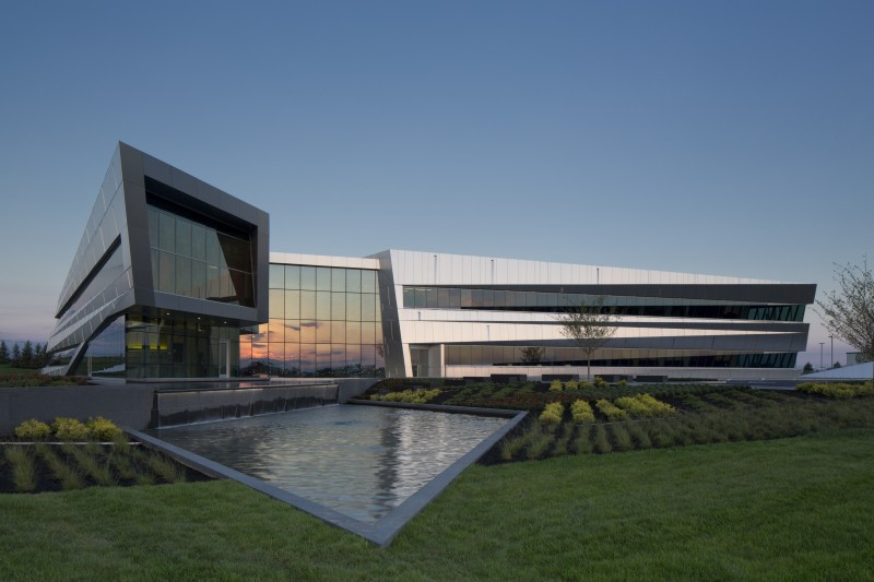 The Connor Group Headquarters - This 39,000 sq. ft. headquarters sits on the grounds of the Dayton-Wright Brothers Airport.  The buildings angled and sloped envelope changes as one travels around the building.