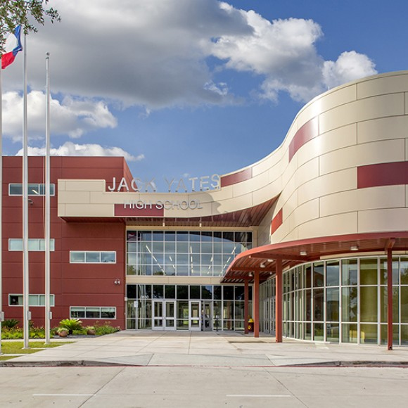Jack Yates High School - Moody Nolan designed this new 210,000 sq. ft. senior high school for the Houston Independent School District.
