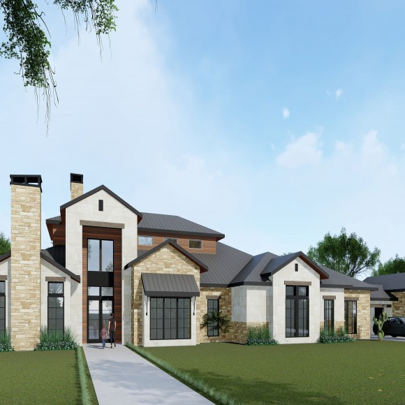 This is the Hi-Tower House with a Texana Style modern home in Southlake TX.   The Texana Style is derived from local Texas materials like the stone and wood accents shown.