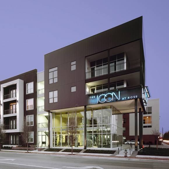The Icon at Ross and Hall includes 372 units in a four-story building with a secure multi-level concrete garage.  This apartment community has established a strong design precedent for a rapidly developing area of the city.  The architecture is modern, urban, and edgy without being cold or industrial.