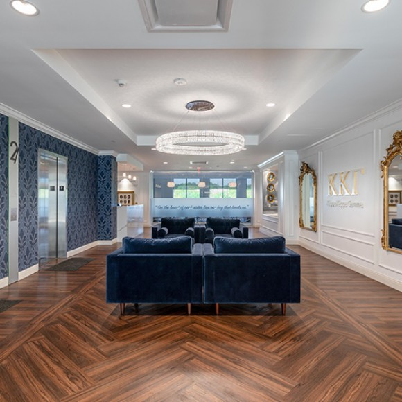 Kappa Kappa Gamma Headquarters - This new 22,000 sq. ft. tenant space includes offices, meeting space, and a large multifunction training room. The headquarters showcases artifacts depicting the organization's history, heritage, and core values.