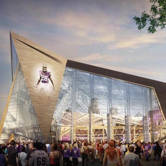 Minnesota Multi-Purpose Stadium; The future home of the NFL's Minnesota Vikings  and multi-purpose venue emcompasses 1.6 million square feet,  66,000-seats, including 7,500 club seats, and 125 suites. Thornton Tomasetti's structural engineering, building skin mechanization design and construction support teams collaborated with HKS to design an innovative building that features one of the largest clear ETFE (ethylene tetrafluoroethylene) polymer membrane roofs and the largest pivoting glass doors in the world. HKS