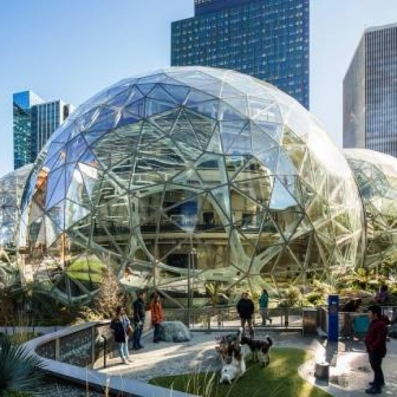 Transforming Seattle's urban core, The Spheres, are three intersecting, steel-and-glass-orbs enclosing five, freestanding floors of unorthodox workspaces. Housing over 40,000 exotic plants from 30 countries, the eye-catching domes are creations of innovative thinking between Amazon and the design team. 2019 IDEAS2 Award Winner