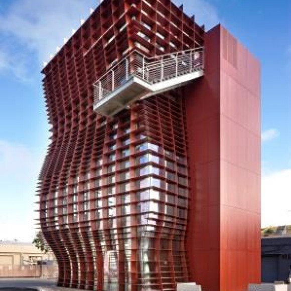Vespertine is an elegant four-story tower building with gently curving surface sculpted by vertical and horizontal steel fin plates, which is currently the home to a modern restaurant with the same name in Culver City, Los Angeles, California. A closer look, however, reveals the amazingly intricate relationship between each element. 2019 IDEAS2 Award Winner