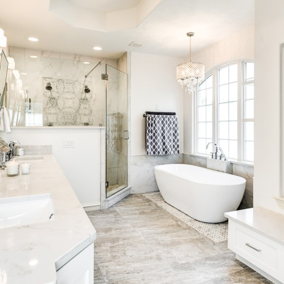 Spa-like bathroom renovation in elegant white luxurious spa like bathroom remodel in Dallas