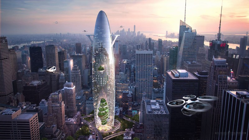 Building The Vertical - Sustainable City (Concept) - This sustainable and cutting-edge tower concept developed for the 2019 eVolo Skyscraper Competition – one of the world's most prestigious awards for high-rise architecture. The BKV Group team developed an architectural depiction of what the future of housing might look like. BKV Group