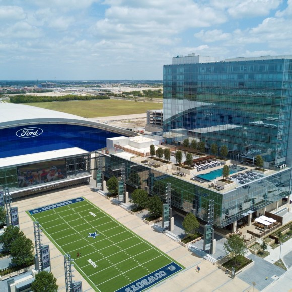 The Omni Frisco Hotel — Frisco's first luxury hotel — is part of the The Star multi use center which includes The Dallas Cowboys World Headquarters, The Ford Center at the Star multi-use event center and practice facility, and retail and restaurant space. The 300-room hotel will include meeting space, a ballroom and a rooftop pool overlooking a plaza area that will be a focal point for The Star.
