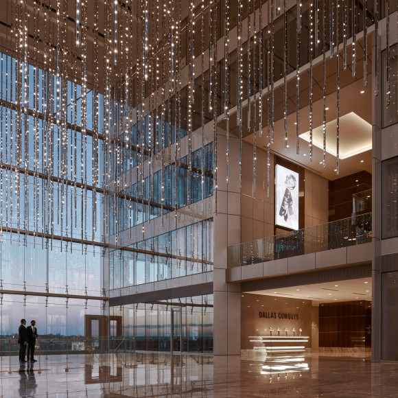 The Dallas Cowboys World Headquarters is a multi-tenant building branded to the Dallas Cowboys experience and is designed to be integrated with the adjacent plaza and training facility. The 300,00 square foot Headquarters is a part of The Star in Frisco, a 91-acre, multi-use development located approximately 30 miles north of Dallas. Ryan Gobuty