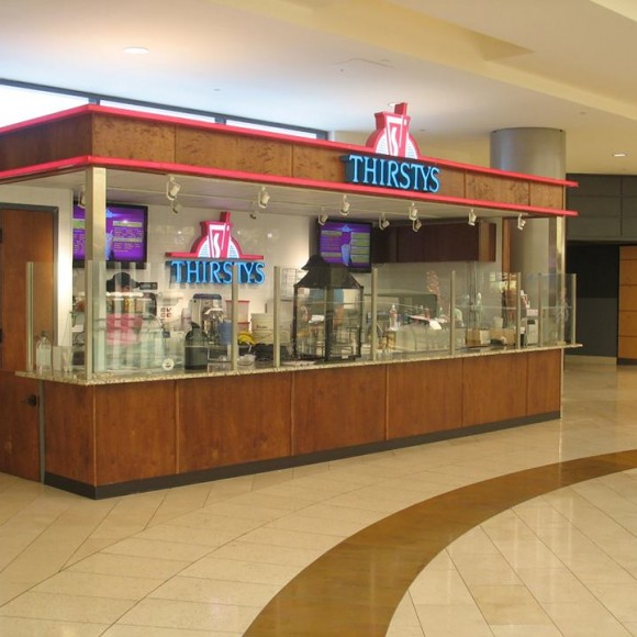 Thirstys kiosk design, Galleria Mall in Dallas, Texas.