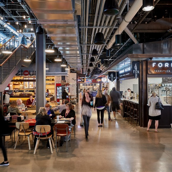 Legacy Hall, Food Hall and Box Garden: Dedicated to serving the best-of food trends prepared by premier chefs and local artisans, the three-story, 55,000-square-foot European-style food hall, brewery and live music and entertainment venue opened its doors in 2017 in the Legacy West development. Garrett Rowland