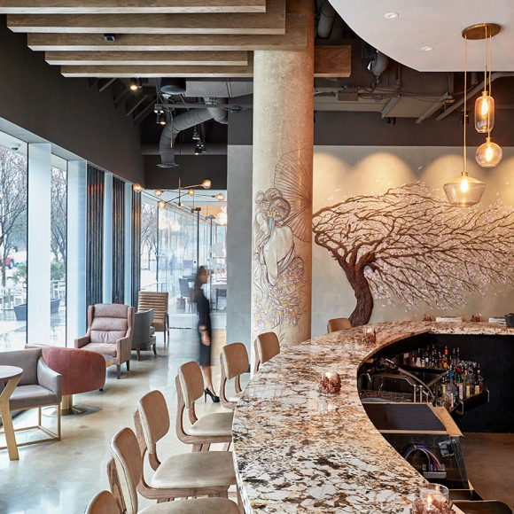 Musume, a contemporary Asian cuisine restaurant in the heart of downtown Dallas, tells a story of rebellion and boldness through its juxtaposed masculine and feminine design elements, elevating the dining experience. Garrett Rowland