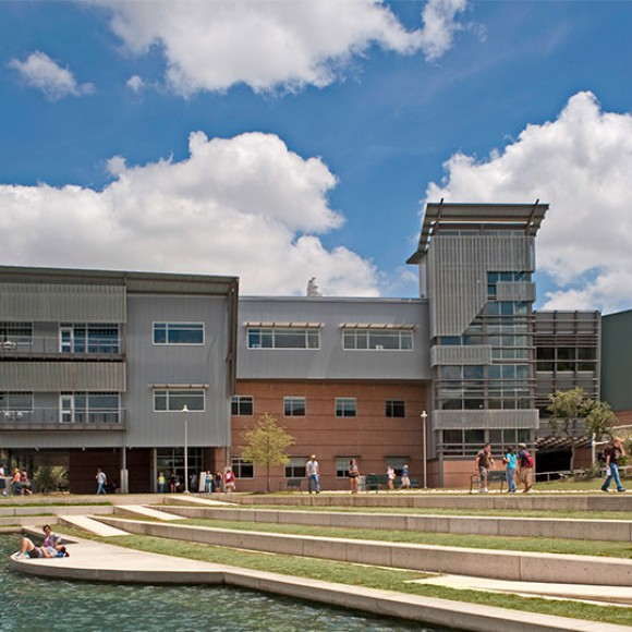The signature Live Oak Hall Academic Center on Northwest Vista College's