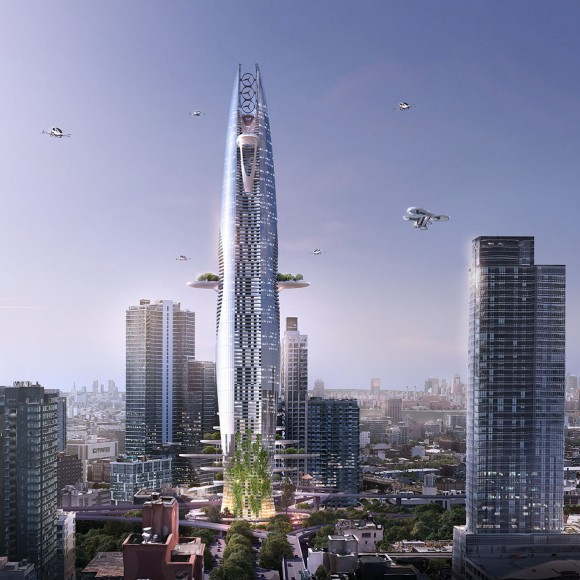 """Titled """"The Vertical Sustainable City,"""" the skyscraper concept is an expression of the opportunities and constraints urbanistic contexts present to architects. Juxtaposing the idea of a sprawling, urban development, the vertical shape of the tower is a direct response to minimizing the structure's footprint."""