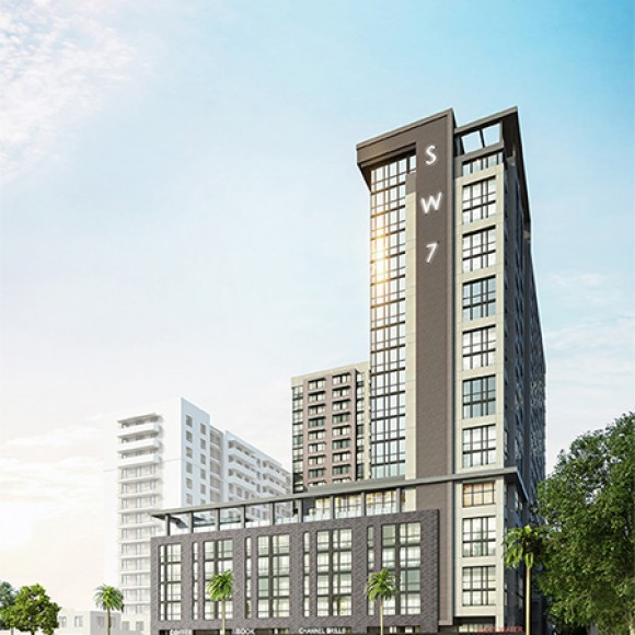 SW7 is one of four major student housing projects at FIU being built, with this tower being an amenity-rich environment for the University to leverage as they expand their housing options and attract a more diverse range of students. Collegiate Development Group & BKV Group