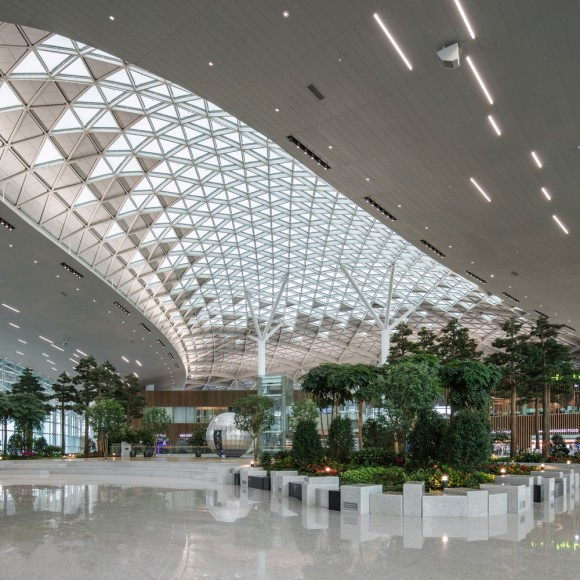 Incheon Terminal 2 is designed to surpass all current standards of excellence for international travel. Conceived from the inside out, Gensler, the collaborating design architect in association with Heerim Architects, created a building that calms, refreshes, entertains, and excites passengers while encouraging them to engage with Korean culture.